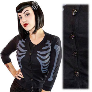 Cardigan Ribcage Noir Boutons Crânes