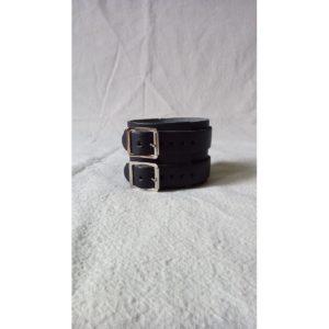 Bracelet Cuir Noir à Deux Boucles Métal