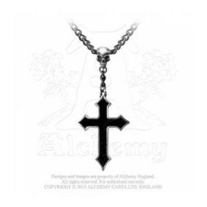 Collier Osbourne s Cross en Etain et Email Noir