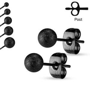 clous pour oreilles boule noire