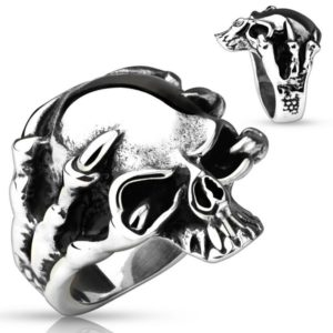 bague crâne et griffes de dragon