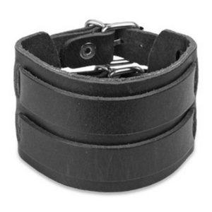 Bracelet cuir noir à deux boucles