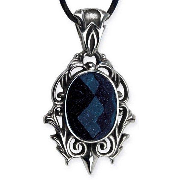 Pendentif Galaxy avec pierre bleue sombre pailletée